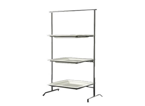 3-Tiered Square Tray w Steel Rack