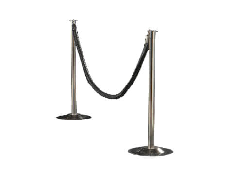 Chrome Stanchion with Black Rope