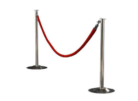 Chrome Stanchion with Red Velour Rope - NEW!