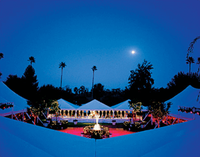 night time courtyard with outdoor tenting