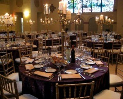 purple and gold wedding reception