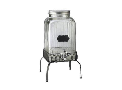Ridged Glass Beverage Dispenser w Stand - NEW!