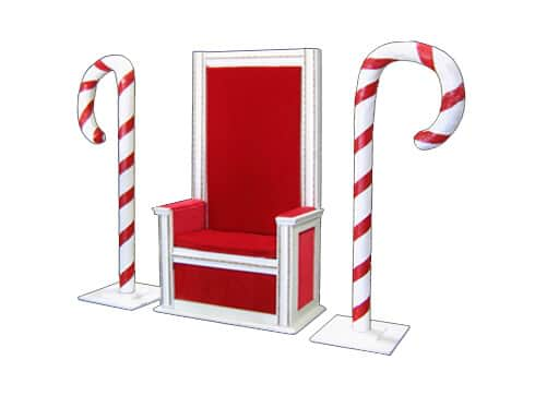 Santa Chair And Candy Canes Stuart Event Rentals