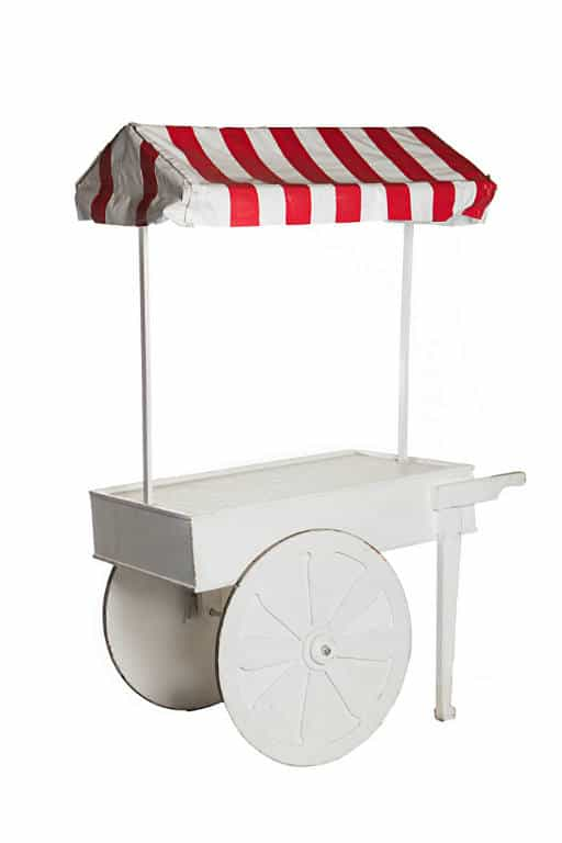 White Cart with Red & White Canopy
