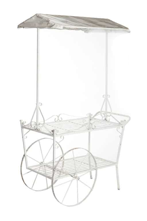 White Metal Cart with Canopy