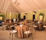 rental tent with decor ceiling and sidewall liners
