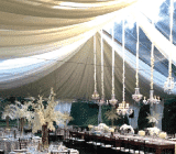 rental tent with decor ceiling liners