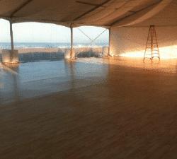 wood flooring under tent