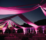 rental tent with partial swaging
