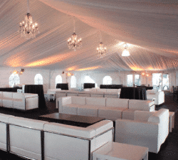 cocktail party seating under tent