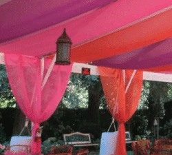 rental tent with decorative walls