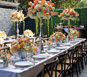 home wedding table setting and decorations
