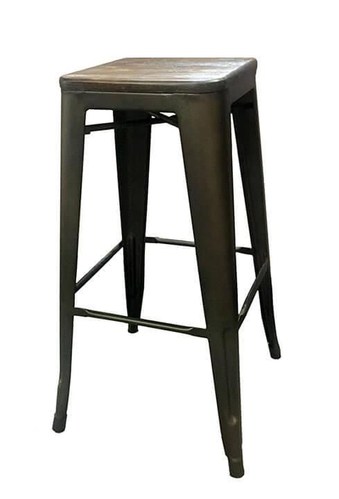 rustic wood top metal bar stool stuart event rentals. Black Bedroom Furniture Sets. Home Design Ideas