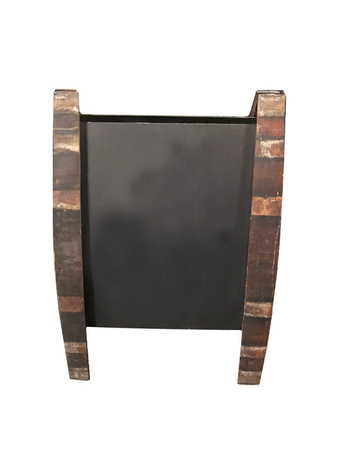 Wine barrel folding chalkboard sign stuart event rentals for Barrell fold